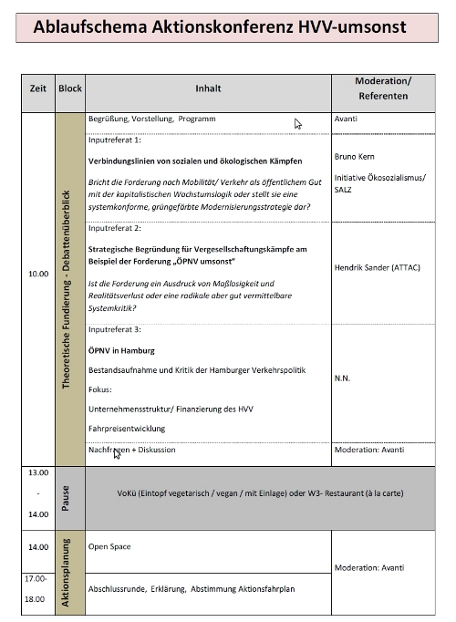 Programm Aktionskonferenz HVV Umsonst! 04.12.2010